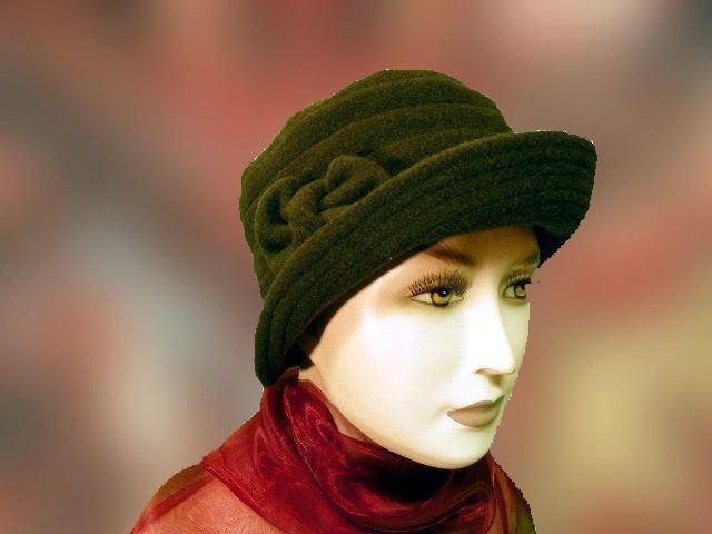 Női sapka gyapjú zöld