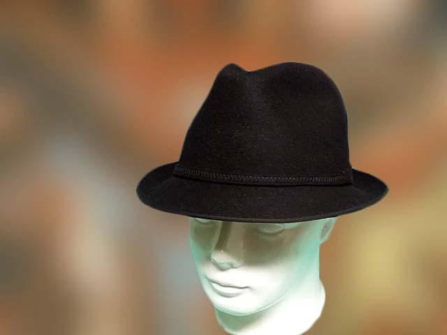Nyúlszőr, fekete színű férfi kalap, bélelt, divatos, kis karimás.